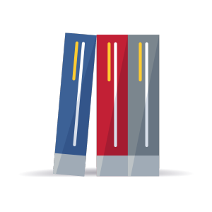 Red, blue, and grey textbooks illustration