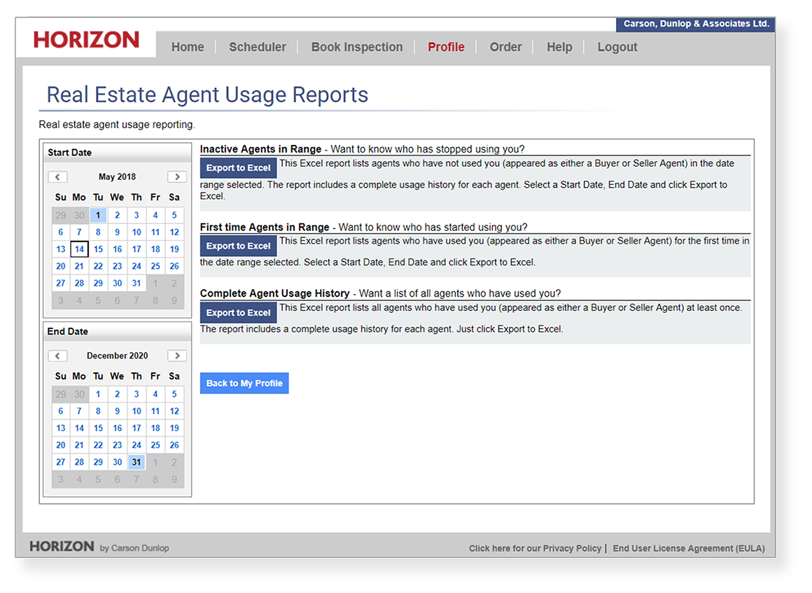 Horizon software real estate agent usage report