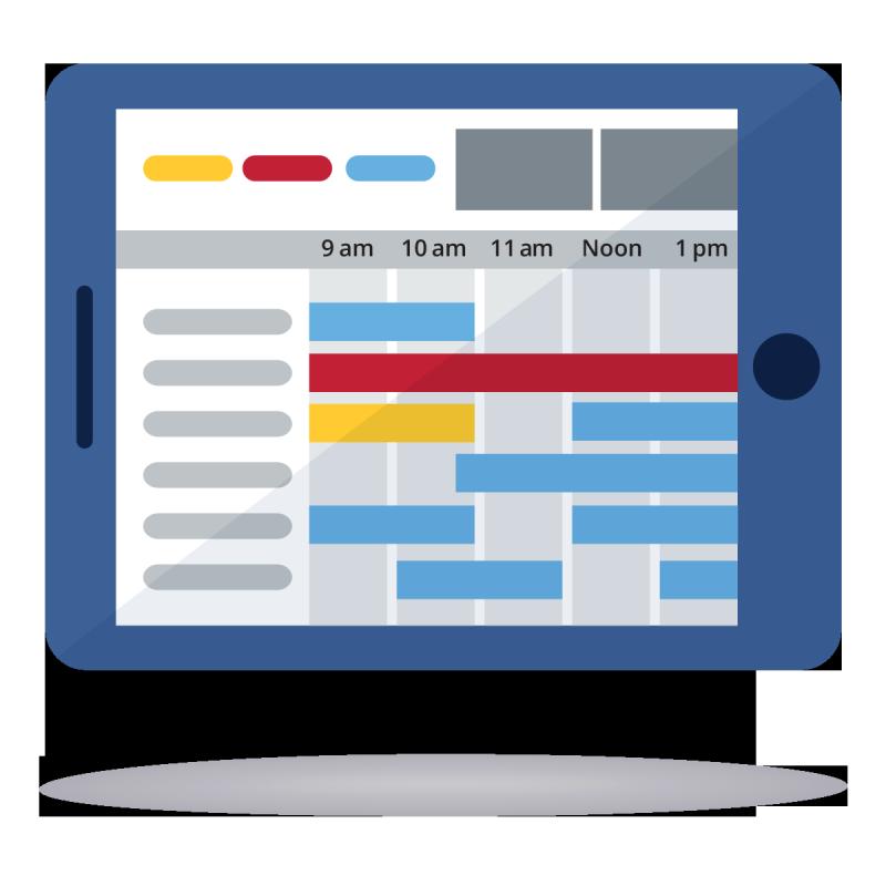 Calendar on tablet icon illustration