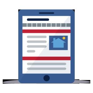 Written report on tablet icon illustration