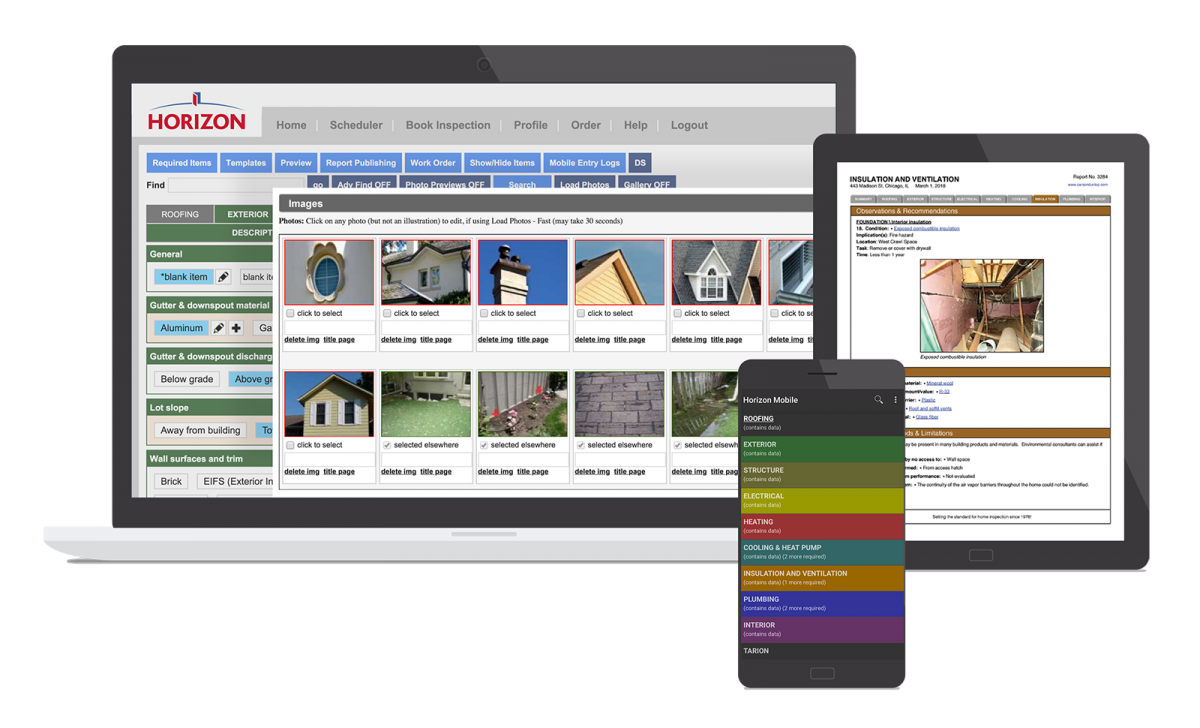 Horizon software examples shown on desktop, tablet and an Android device.