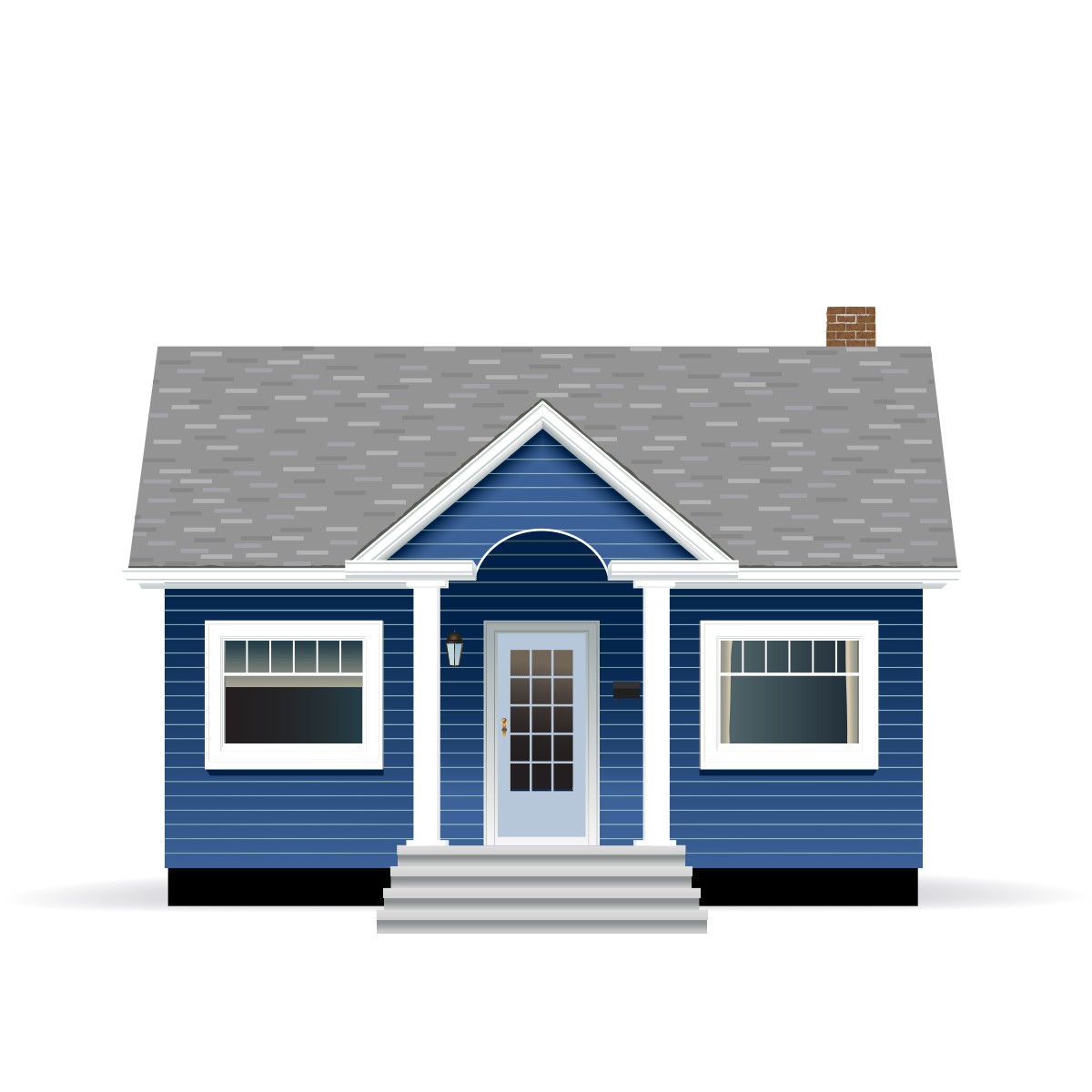 Dark blue bungalow house with grey roof and white trim illustration