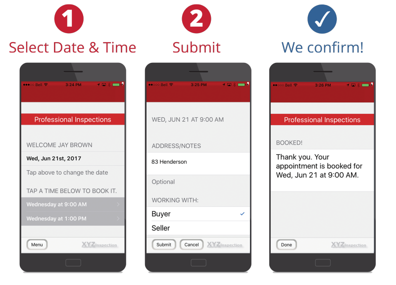 AgentBook App has 3 easy steps, shown in an Android device. 1. Select date & time, 2. Submit, 3. Confirmation