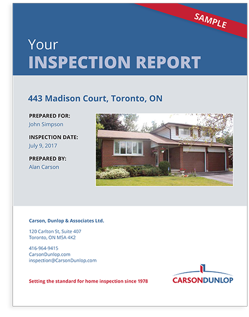 Carson Dunlop Buyer's and Seller's home inspection report sample cover
