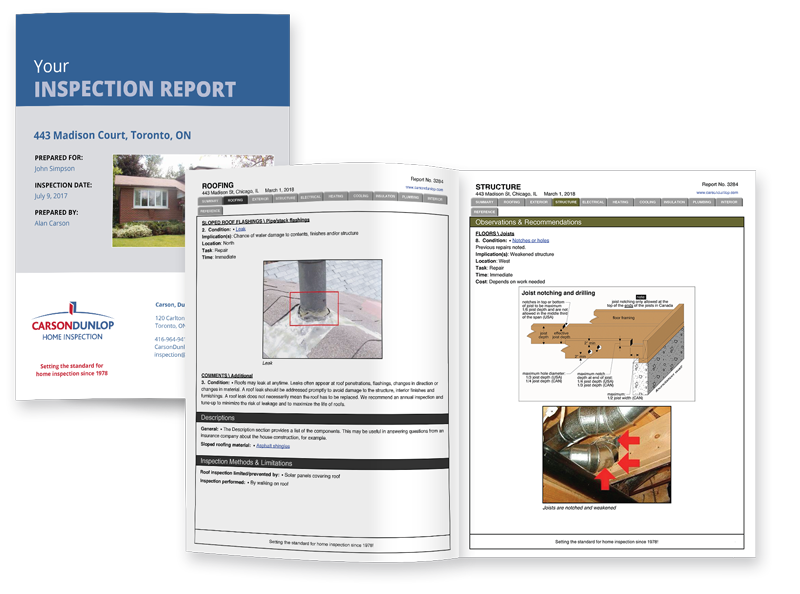 Carson Dunlop Buyers home inspection report sample