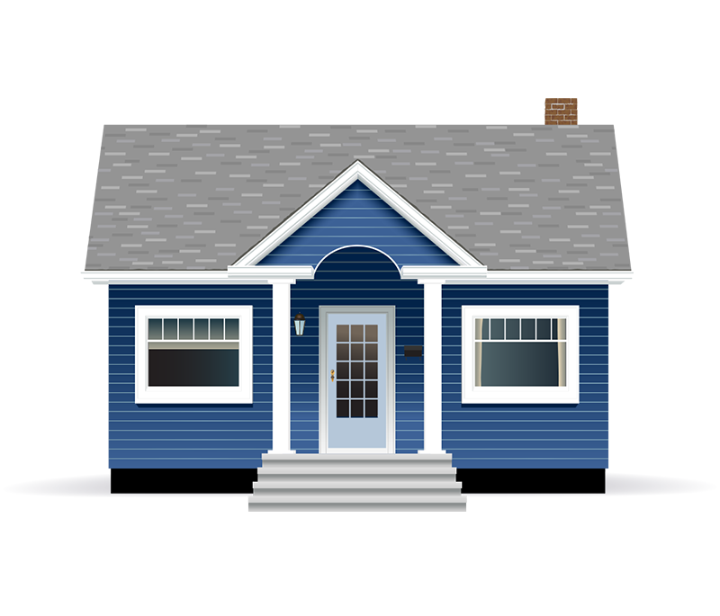 Dark blue bungalow house with grey roof and white trim