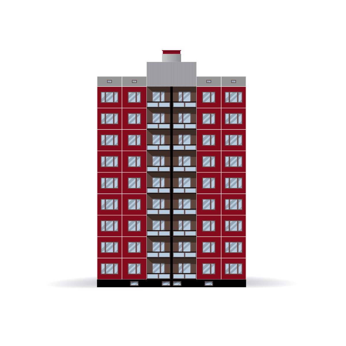 Red condominium illustration