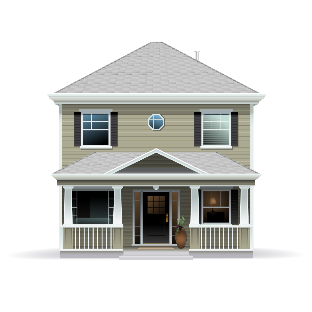 Beige two story house with grey roof and white trim illustration