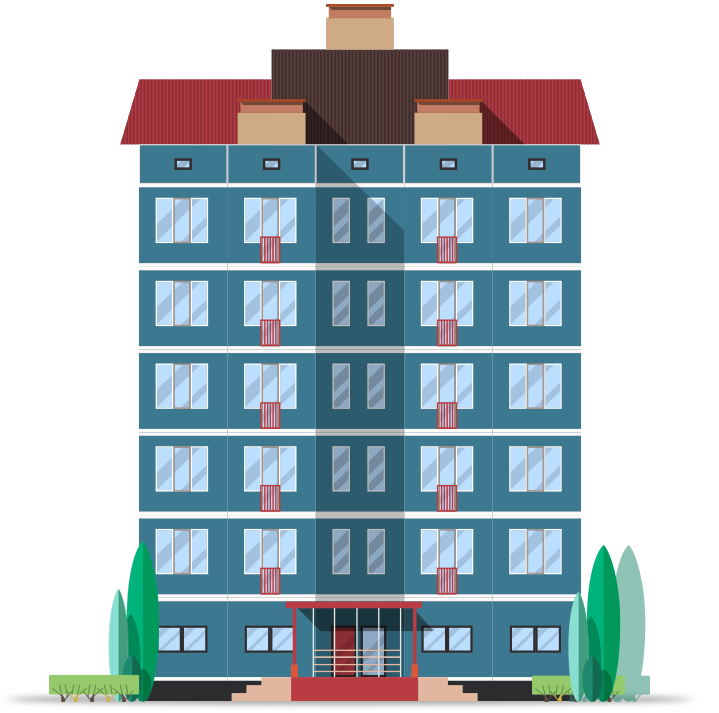 Blue condominium illustration with red roof