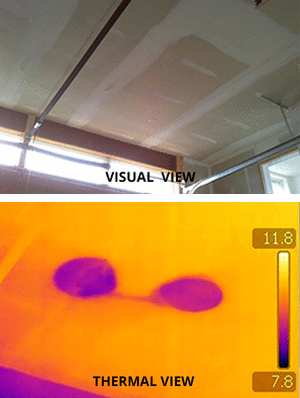 Visual and thermal images of the same ceiling view. The thermal view showing two visible spots of moisture.