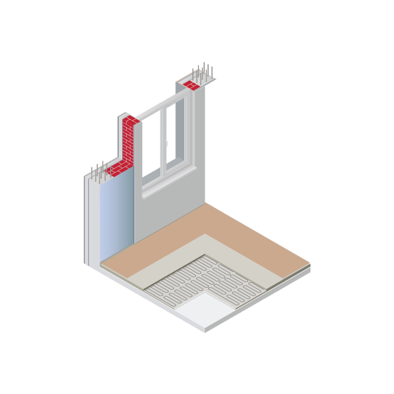A cross-section of wall and floor insulation