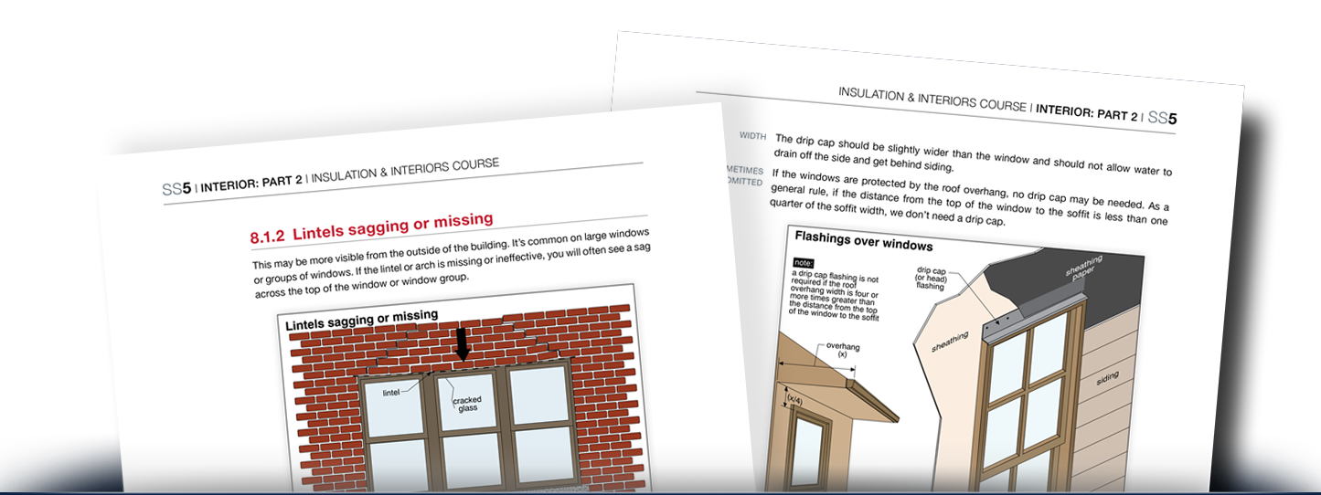 Two pages from the Insulation & Interiors Course showing common problems around windows